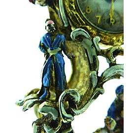 Vintage Taylor Sterling Silver Enamel Ornate Clock Watch Pendant Brooch Pin