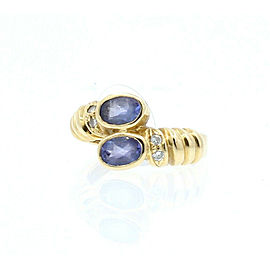 14K YELLOW GOLD LADIES AMETHYST DIAMOND RING SIZE 4