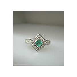 14K WHITE GOLD AQUA EMERALD STONE / DIAMONDS LADIES RING SIZE 6.5
