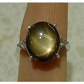 Estate Ladies 18K White Gold black star sapphire Diamond Oval Cocktail Ring