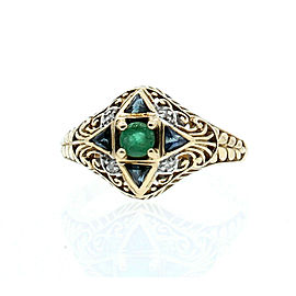 VINTAGE 10K YELLOW GOLD EMERALD SAPPHIRE DIAMONDS LADIES RING SIZE 8