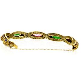 Fine Estate 14k Yellow Gold Jade Opal Onyx Enamel Ornate Bracelet