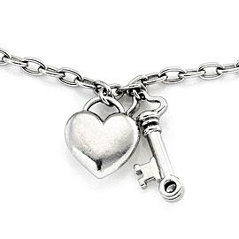 Tiffany & Co. Diamond Platinum Heart Padlock & Key Charm Chain Bracelet