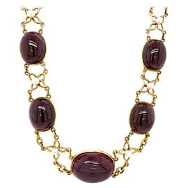 Antique 14 Karat Yellow Gold Garnet Pearl Necklace