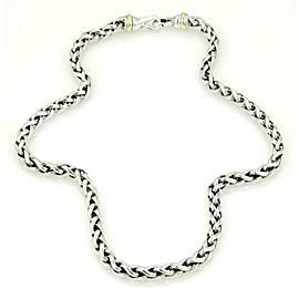 David Yurman Sterling Silver 14k Yellow Gold 8mm Woven Link Chain Necklace