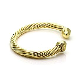 David Yurman 18k Yellow Gold 7mm Thick Cable Cuff Bracelet