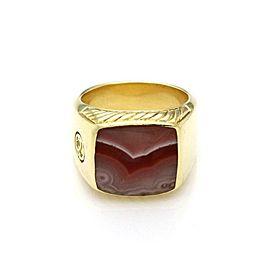 David Yurman Men's Agate 18k Yellow Gold Large Square Top Ring Size 10