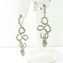 John Hardy Legends Cobra Drop Earrings 18K Gold Sterling Silver