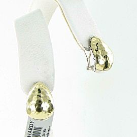 John Hardy Classic Chain Buddha Belly Earrings 18k Yellow Gold Sterling