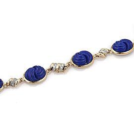 Estate 1.3ct Diamond Carved Lapis 14k Two Tone Gold Fancy Pendant Necklace