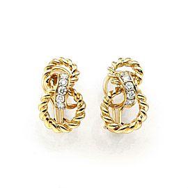 Tiffany & Co. 1995 Diamond 18k YGold Figure 8 Style Post Clip Earrings