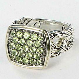 John Hardy Classic Chain Lava Ring Green Peridot Sterling Silver Size 6