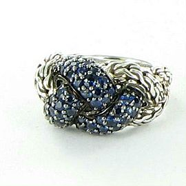John Hardy Classic Chain Lava Small Braided Blue Sapphire Ring Size 7