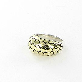 John Hardy Dot Gold Silver Dome Ring 18K Yellow Sterling 925 Size 7