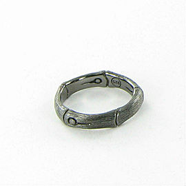 John Hardy Bamboo 4.5mm Carved Ring Black Brushed Sterling Silver Size 7