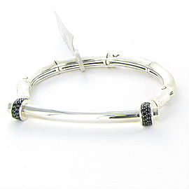 John Hardy Bamboo Medium Brushed Silver Black Sapphire Hinged Bracelet