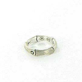 John Hardy Bamboo 4.5mm Carved Ring Brushed Sterling Silver Size 7