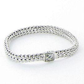 John Hardy Classic Chain 6mm Bracelet Grey Sapphires Clasp Sterling 925