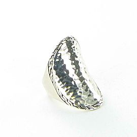 John Hardy Classic Chain Hammered Saddle Ring Sterling 925 Size 7