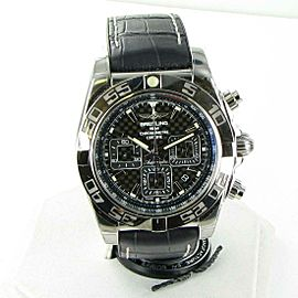 Breitling Chronomat 44 Carbon Dial Crocodile Rubber Watch AB011012/BF76-296S
