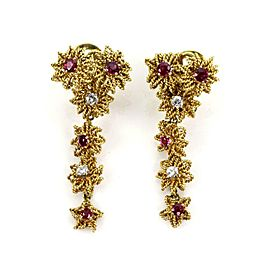 Vintage 1.35ct Diamond & Ruby 18k Yellow Gold Floral Dangle Earrings