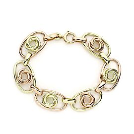 Vintage 14k Yellow & Rose Gold Love Knot Oval Link Bracelet
