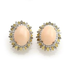 Estate 1.15ct Diamond Oval Coral 18k Gold Fancy Post Clip Dome Earrings
