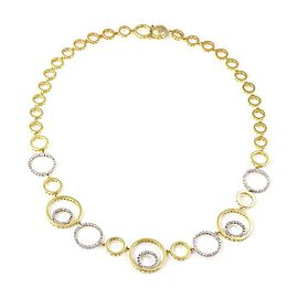 Modern 1.40ct Diamond 18k Two Tone Gold Fancy Circle Link Necklace