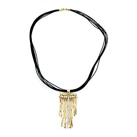Roberto Coin Diamond 18k Gold Elephant Skin Dangle Stick Pendant & Cord