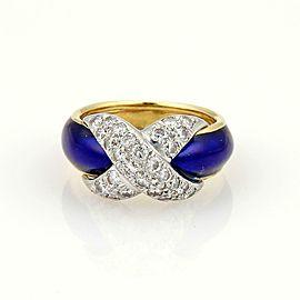 Tiffany & Co. Schlumberger Platinum 18k Gold Pave Diamond & Blue Enamel X Ring