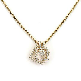 Movado 2 Carats Diamond 18k Gold 2 Tier Spinner Pendant & Chain