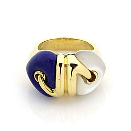 Bvlgari Bulgari Lapis Mother of Pearl 18k Yellow Gold Double Heart Ring