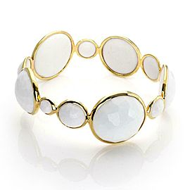 Ippolita Rock Candy 18k Yellow Gold White Agate Gems Bangle Bracelet