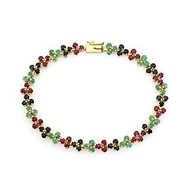 14k Yellow Gold 6 Carats Emerald Ruby & Sapphire Floral Bracelet