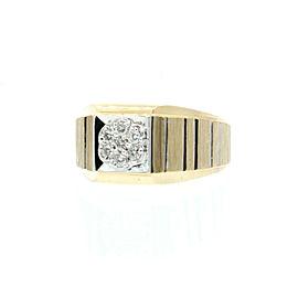 ESTATE 14k Yellow White Gold .35ct Diamond Men's ring 7.3 Grams Size 10