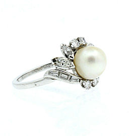 Platinum Pearl & Diamond Ladies Ring 5.5 Grams Size 5