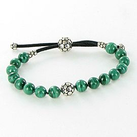 John Hardy Dot Beaded Bracelet Malachite 8mm Sterling Adjustable Pull Through