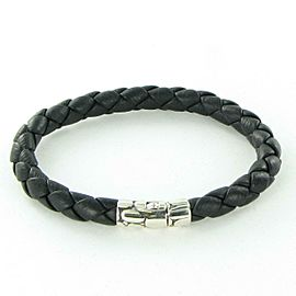 John Hardy Kali 7mm Station Bracelet Black Leather Sterling Silver