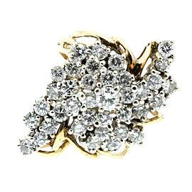 Estate 14k Yellow White gold 3.5ct Diamonds Cluster Ladies Ring Size 6.5