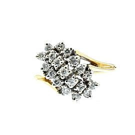 Estate 14k Yellow White gold .60ct Diamonds Cluster Ladies Ring Size 6