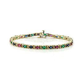 8.25ct Diamond Emerald Sapphire Ruby 14k Yellow Gold Tennis Bracelet