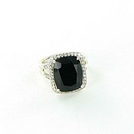 John Hardy Classic Chain Ring Magic Cut Onyx Diamond 0.30ct Sterling Silver Sz 7