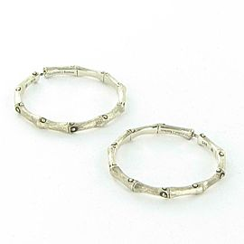 John Hardy Bamboo Hoop Earrings 38mm Brushed Sterling Silver EB5433BH