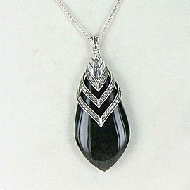 John Hardy Classic Chain Necklace Diamond Black Obsidian Drop Sterling