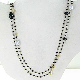 David Yurman Bijoux Bead Necklace Potpourri Onyx Pearl Hematite 18K Yellow Gold