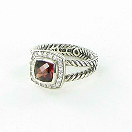 David Yurman Petite Albion Pyrope Garnet Diamond Ring 0.18cts Sterling Sz 6 $675