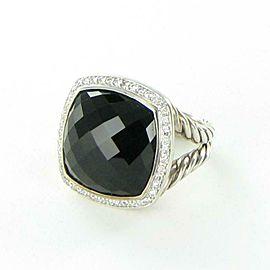 David Yurman Albion Black Onyx Diamond 0.37cts Ring Split Sterling Sz 7