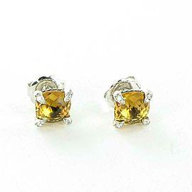 David Yurman Chatelaine Diamond Earrings 9mm Citrine Sterling Silver Studs $800
