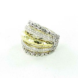 John Hardy Classic Silver Gold Hammered Diamond 0.60cts Ring Sterling Sz 7 $2900