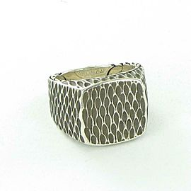 John Hardy Naga Signet Ring Mens Darkened Sterling Silver Sz 10